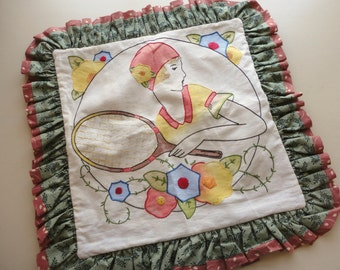 vintage embroidered lady pillow cover