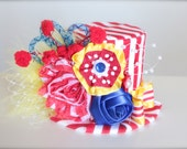 Circus Ring Master Inspired Red, White, Blue and Yellow Mini Top Hat Headband (or fascinator) - Perfect Circus Birthday or Photo Prop