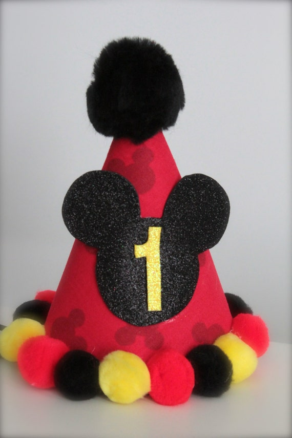 Boy or Girl Mickey Mouse Inspired (Red, Yellow and Black) - Custom Party Hat / Headband (pick you colors)