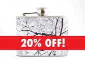 Hip Flask : Autumn Tree, 4 oz Stainless Steel Flask, Velour Bag Included