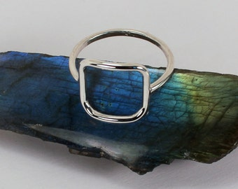 Open Square Ring, Sterling Silver, Made to Order