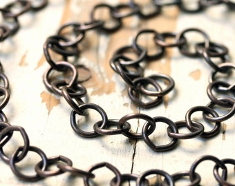 6ft Oxidized Large Copper Chain 10mm, Antiqued Patina Solid Copper Cable Chain Huge Round LInks, 16 gauge