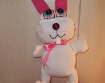 Stuffed White Rabbit, Fluffy Tailed, Rolls Eyes