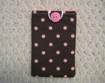 SALE  - Brown and Pink iPhone Case/ Fabric iPhone Case/  iPhone Sleeve / iPhone 4, iPhone 4s and iPod Touch Case