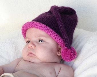 Purple baby girl hat  6 - 12 months winter baby hat Light Purple or Dark Purple