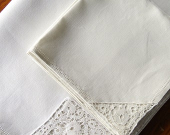 Vintage Linen Tablecloth Napkins Drawnwork Lace Tape
