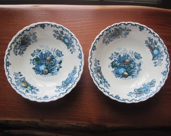 "Pair Mason's ""Fruit Basket"" 6 1/2"" Ironstone Cereal Bowls in Blue Multicolor"