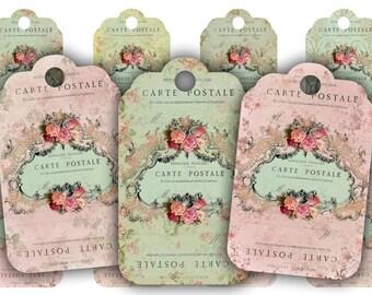Digital Images - Digital Collage Sheet Download - Floral Carte Postale Tags -  490  - Digital Paper - Instant Download Printables