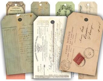 Digital Collage Sheet Download - Vintage French Ephemera Tags -  329  - Digital Paper - Instant Download Printables