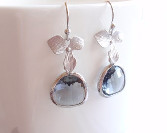 Orchid, Black Diamond White Gold Frame Drop Earrings-simple everyday jewelry- Bridesmaid,Wife, Girlfriend, Mothers Gift Idea