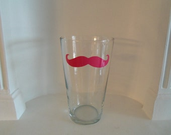 Mustache Glass,Mustache Beer Glasses, Pint Glass,Housewares,Glassware, Tumbler, barware, Beer Glass, Blue, Pink,Yellow or Red, Home & Living