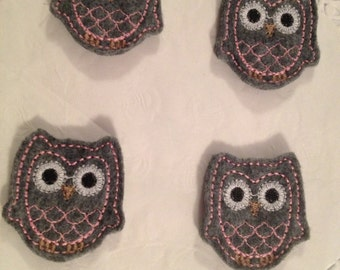 Adorable Gray Felt Owl applique with Pink trimming- Set of 4