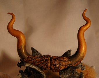 gold n black DRAGON Horns cos play Fantasy Fantastical fairy festival, ren fair or RAVE