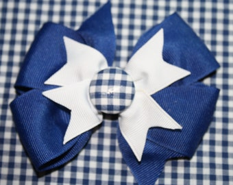 Hair Bow in Blue and White Gingham