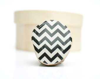 Black Chevron ring. Black Statement ring. Black and White Ring. Wood Statement Ring. Starlight Woods