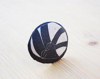 Ceramic ring, black and white, organic design