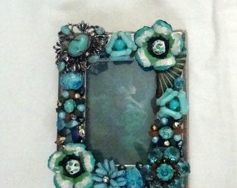 "Vintage jewelry embellished frame-""Blue Lagoon"""