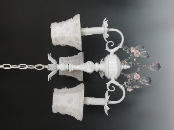 white chandelier lighting shabby chic chandelier nursery. Black Bedroom Furniture Sets. Home Design Ideas