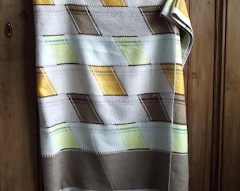 vintage tablecloth retro 60s 70s geometric earthy brown geometric mustard decor earthy