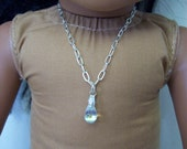 "American Girl 18 "" inch Doll and Girl Silver tone Iridescent MERMAID TEARdrop pendant Silver Necklace Jewelry Accessories Bracelet Child"