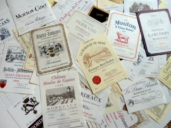 10 Vintage French Wine Labels Not Reprints Instant collection Vintage French Wine Labels
