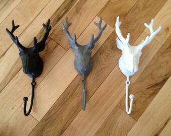 Cast Iron Deer Head Hook - Coat Hat Scarf Key Organizer - Gift