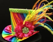 Rainbow Mini Top Hat for Dress Up, Birthday, Tea Party or Photo Prop