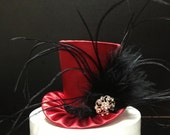 Red and Black Satin Mad Hatter Mini Top Hat for Wedding, Bachelorette Party, Bridal Shower, Tea Party or Photo Prop