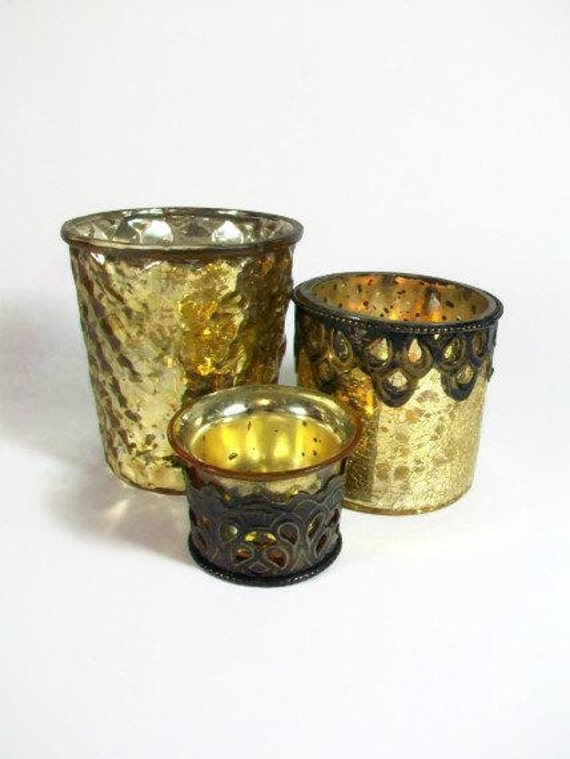 Mercury Glass Votive Candle Holders Silver Tea Light Votive Set