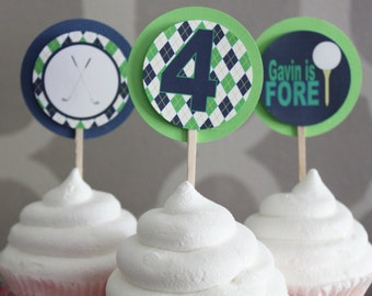 PREPPY ARGYLE GOLF Happy Birthday or Baby Shower Cupcake Toppers - Party Packs Available