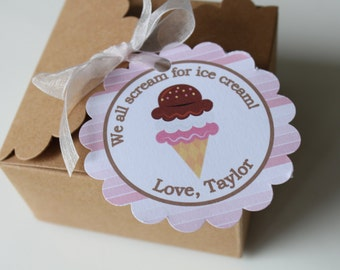 ICE CREAM SHOPPE Theme Birthday or Baby Shower Favor Tags or Stickers 12 {One Dozen} - Party Packs Available