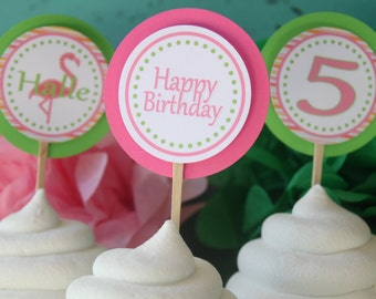 PINK FLAMINGO Happy Birthday or Baby Shower Cupcake Toppers 12 {One Dozen} - Party Packs Available