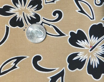 Beautiful Floral Tan with Black  Fabric by the Piece
