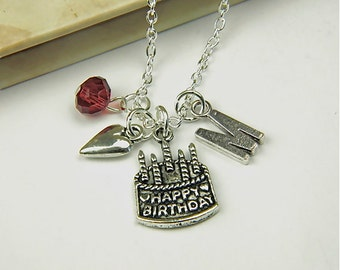 Personalized Birthday Necklace with Your Initial and Birthstone