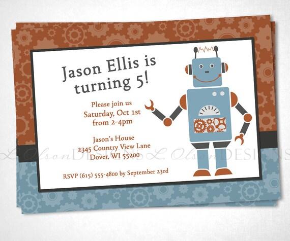 Robot and Gears Birthday Invitation - Blue/Orange - DIY Printable
