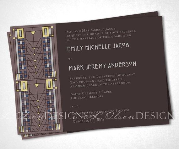 arts and crafts    craftsman wedding invitation brown diy