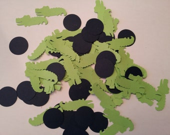 100 navy and green alligator  die cuts confetti, gator