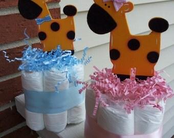 3 Giraffe mini diaper cakes boy or girl baby shower centerpieces.