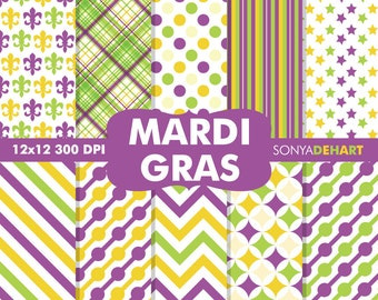 60% OFF SALE Mardi Gras Digital, Mardi Gras Papers, Mardi Gras Scrapbook, Digital Mardi Gras, Fleur De Lis Pattern, Carnival Papers