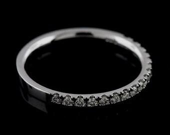 Women's Diamond Half Way Gold Wedding Ring, Comfort Fit Conflict Free Diamond Wedding Ring, Classic Cut Down Diamond Gold Wedding Band 2mm