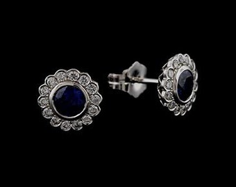 Diamond Bezel Set Sapphire Post And Push Back Flower Stud Earrings