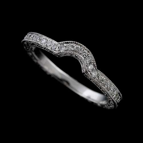 diamond wedding band engraved curved wedding band contour. Black Bedroom Furniture Sets. Home Design Ideas