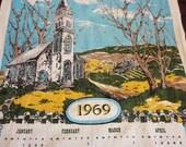 Vintage Linen Calendar Towel 1969 - Country Church and Prayer Theme