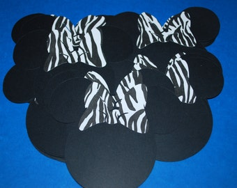 """Minnie Mouse Die Cuts (20) 4"""" with Zebra Bows"""