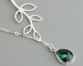 Sterling Silver Leaf Necklace -  Emerald Green Glass Sterling Silver Lariat Necklace - Bridesmaid Necklace - Branch Necklace