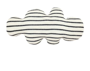 Cloud pillow -  soft knitted cloud, wide stripes: black and white