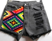 Vintage  Levis High Waist  Denim Shorts Aztec Print ---Waist  27    inches