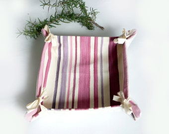 Bread basket in pink purple white striped fabric