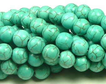 10mm Turquoise Blue Synthetic Howlite Round Stone Beads - 20pcs - Round, Opaque, Brown Veining - BG14