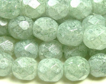 6mm Stone Green Luster Czech Glass Beads - 25pcs - Round, Faceted, Fire Polished - BD14